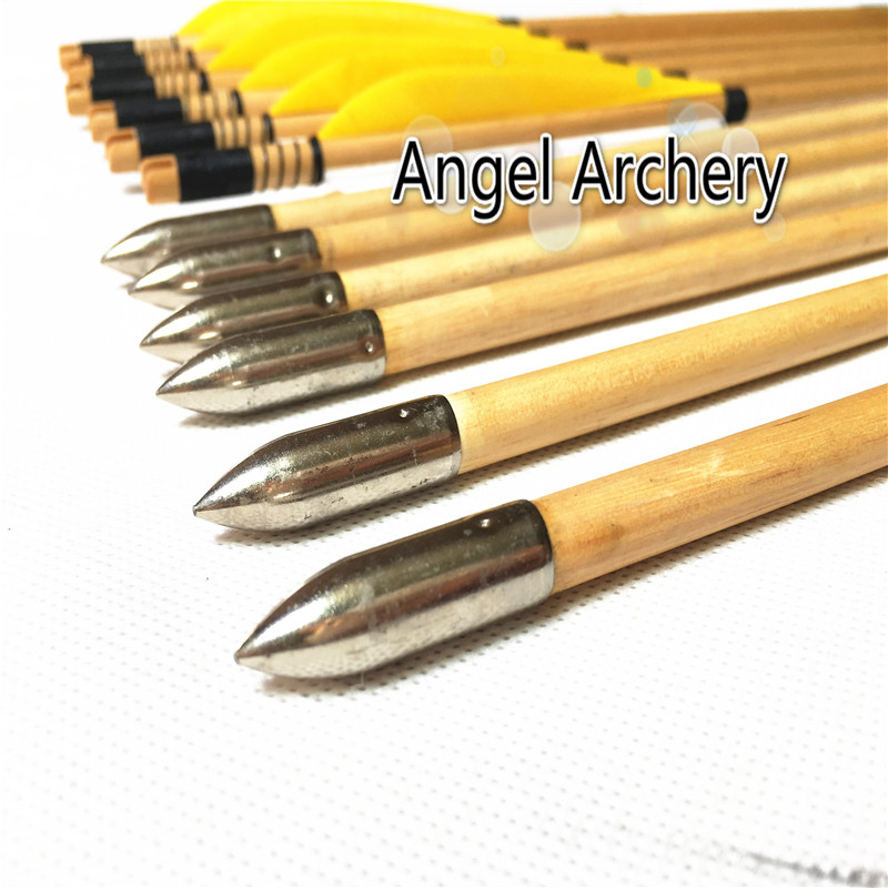 12PK yellow white turkey feathers bullet tips wooden arrows diameter 8 5mm shafts wood arrow for