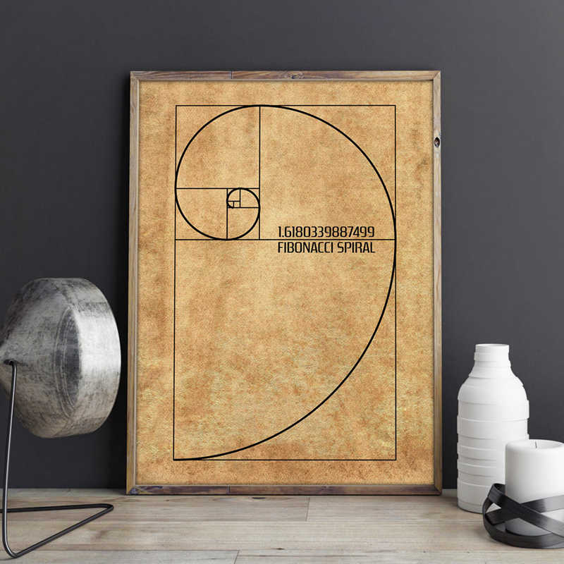 Fibonacci espiral patente arte da parede pintura em tela de ouro relação cartazes e impressões do vintage blueprint presente idéia ciência decoração