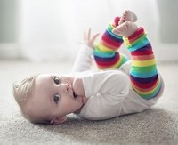Comfortable toddler kids rainbow stripe safety knee pad long socks children baby cotton Leg Warmers 12pair/lot Free Shipping