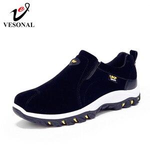 Image 1 - VESONAL mocasines sin cordones para hombre, zapatillas transpirables de ante, cómodas para caminar, para primavera y verano, 2019