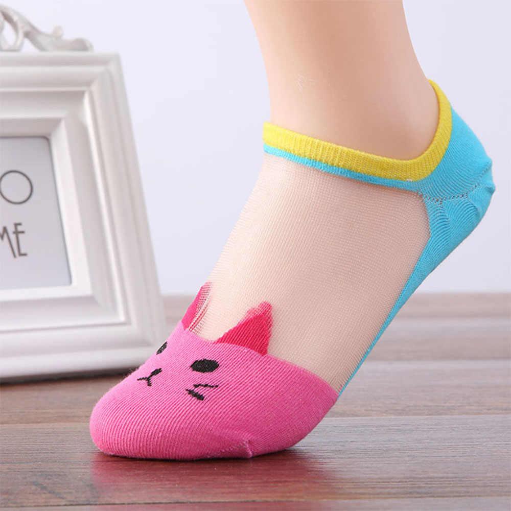 קיץ סתיו נשים חדש קריקטורה חמודה חתול דפוס גרבי קריסטל משי גרבי Ultrathin שקוף נמוך קרסול גרבי Dropshipping