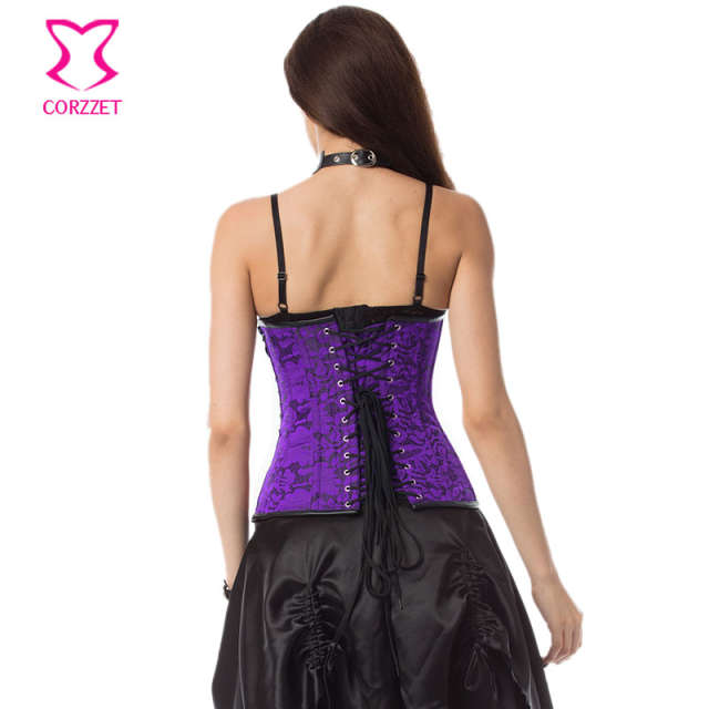 a42a4ef8925 Purple Brocade   Black Leather Corset Bustier Top Gothique Steampunk Corsets  and Bustiers Plus Size Gothic