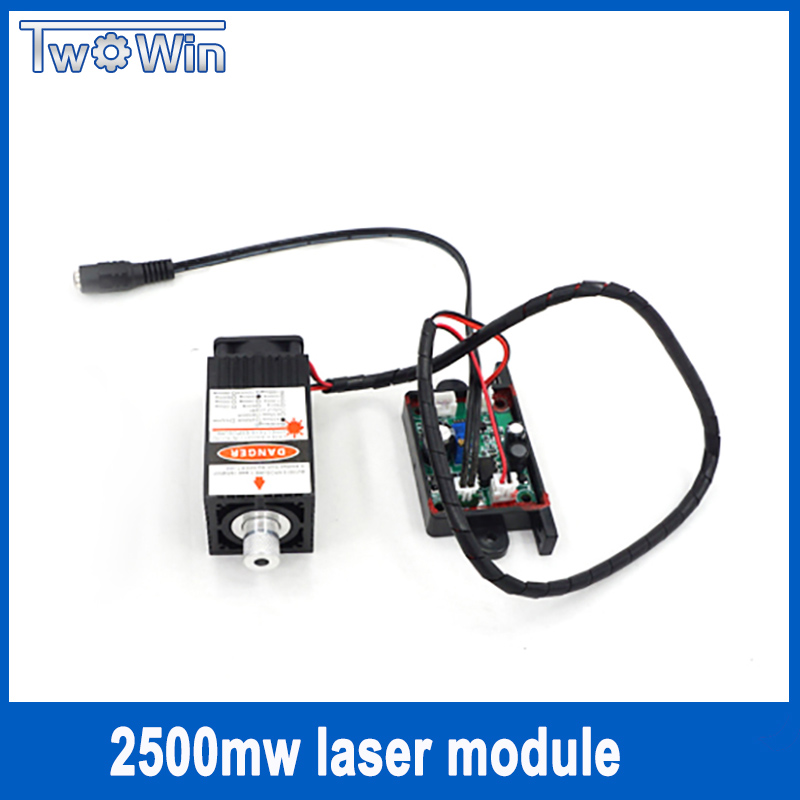 2500mw Laser Module 450NM Focusing Blue Laser Head Laser Engraving with Cutting TTL Module 25w Laser Tube + Protect Googles