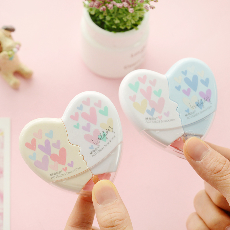 MIRUI Love Heart Correction Tape Kawaii Stationery Office School Supplies 5mm*10M Detachable Can Be Combined And  Separate