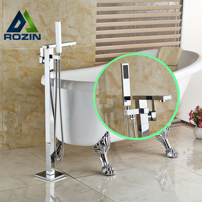 Bathroom Floor Mount Freestanding Chrome Bathtub Filler Bath Tub Faucet W/ Handshower freestanding houses