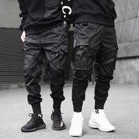 Men Ribbons Color Block Black Pocket Cargo Pants 2019 Harem Joggers Harajuku Sweatpant Hip Hop Trousers