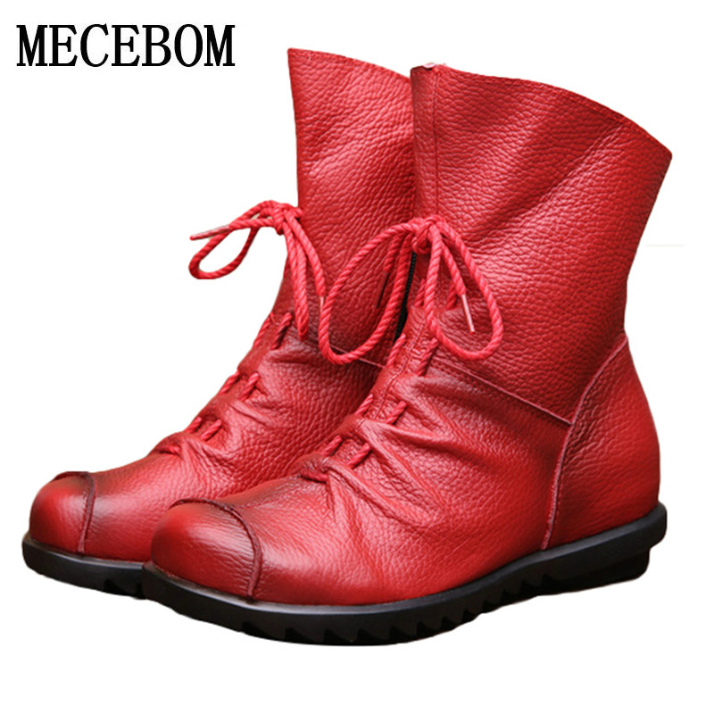 2018 Women Fashion Vintage Genuine Leather Shoes Female Spring Autumn Platform Ankle Boots Woman Lace Up Casual Boots 1806W women ankle boots 2016 round toe autumn shoes booties lace up black and white ladies short 2017 flat fashion female new chinese