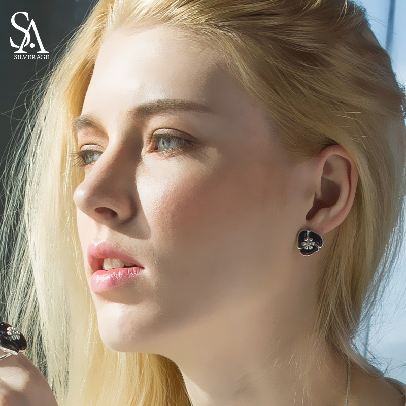 SA SILVERAGE Real 925 стерлингового серебра цветок серьги стержня для женщин черный камень серьги со стразами Fine Jewelry 2018