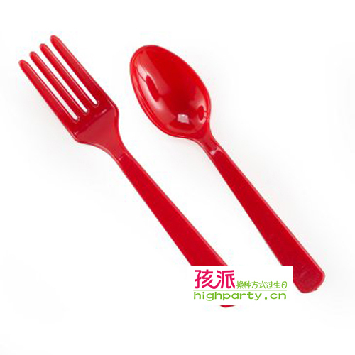 Highparty knife fork spoon red 6 set