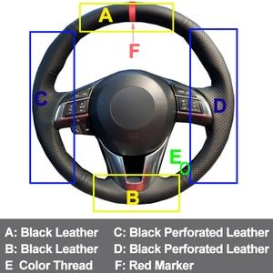 Image 3 - HuiER Hand Sew Car Steering Wheel Cover Breathable Red Marker For Mazda CX 5 CX5 Atenza 2014 New Mazda 3 CX 3 2016 Scion iA 2016