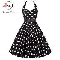Plus Size Polka Dot Dress Women Vintage Swing Halter Belt 50s 60s Rockabilly Prom Party Dresses