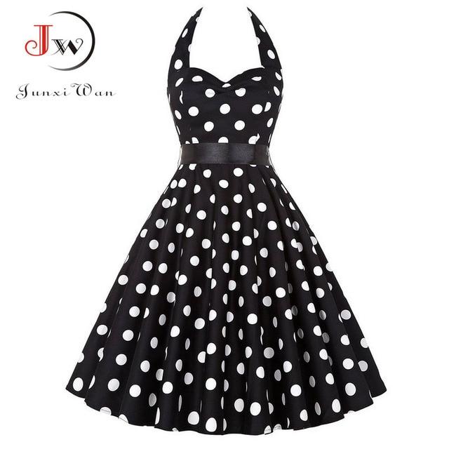 57bddddfcd4ba Plus Size Polka Dot Dress Women Vintage Swing Halter Belt 50s 60s  Rockabilly Prom Party Dresses Retro Feminino Vestidos