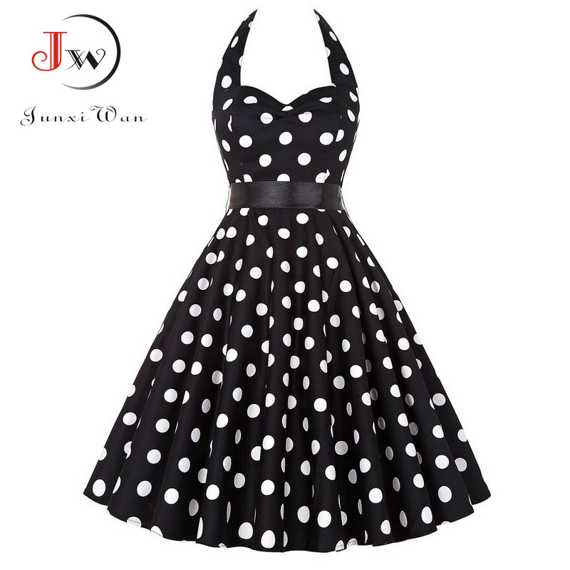 Plus Size Polka Dot Dress Women Vintage Swing Halter Belt 50s 60s Rockabilly Prom Party Dresses Retro Feminino Vestidos