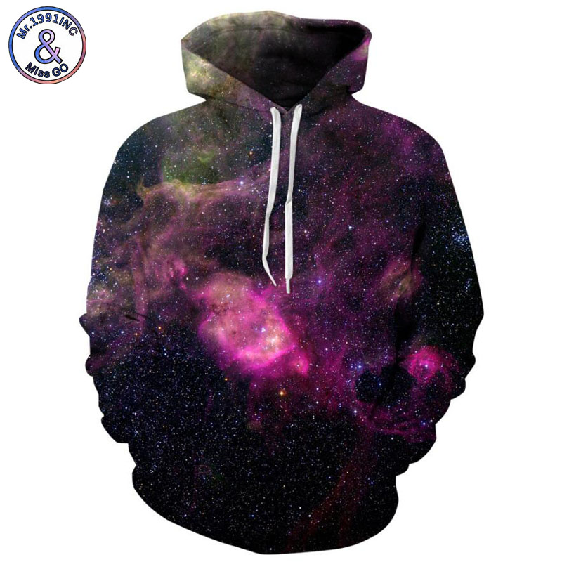 Mr.1991INC Newest Style Purple starry sky Printing Casual Sweatshirts Men/women hoodie sweatshirt Hot Hooded Pullovers M206