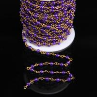4mm Purple Malaysian Jade Smooth Round Beads Copper Chain Amethyst Color Jasper Link Brass Wire Wrapped