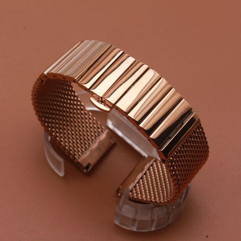 Horloge band 18mm 20mm 22mm hoge kwaliteit rvs shark mesh armband duiken horlogebanden rose goud mooie snelle levering-in Horlogebanden van Horloges op  Groep 1
