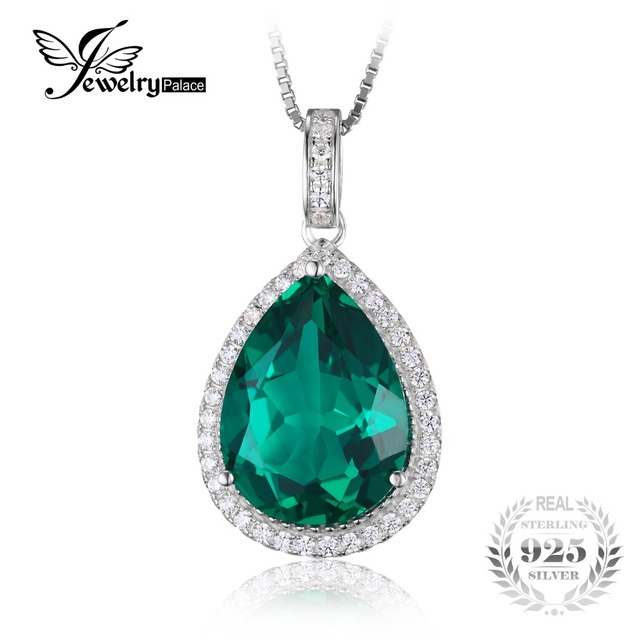 Jewelrypalace Luxury Pear Cut 7.4ct Nano Russian Created Emerald Solid 925 Sterling Silver Pendant Jewelry Not Include the Chain