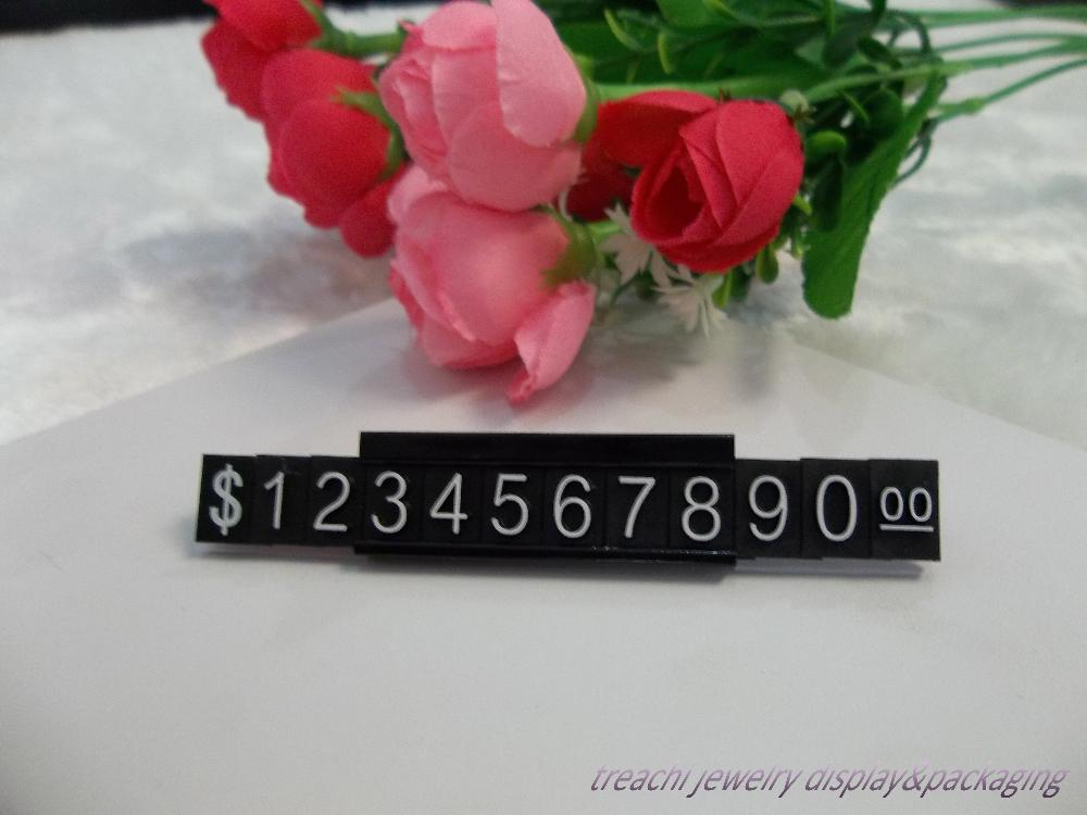 Black Plastic Dollar Price Tags for Jewelry Display (30PCS) Jewelry Display Sign Cub With Metal base for Price