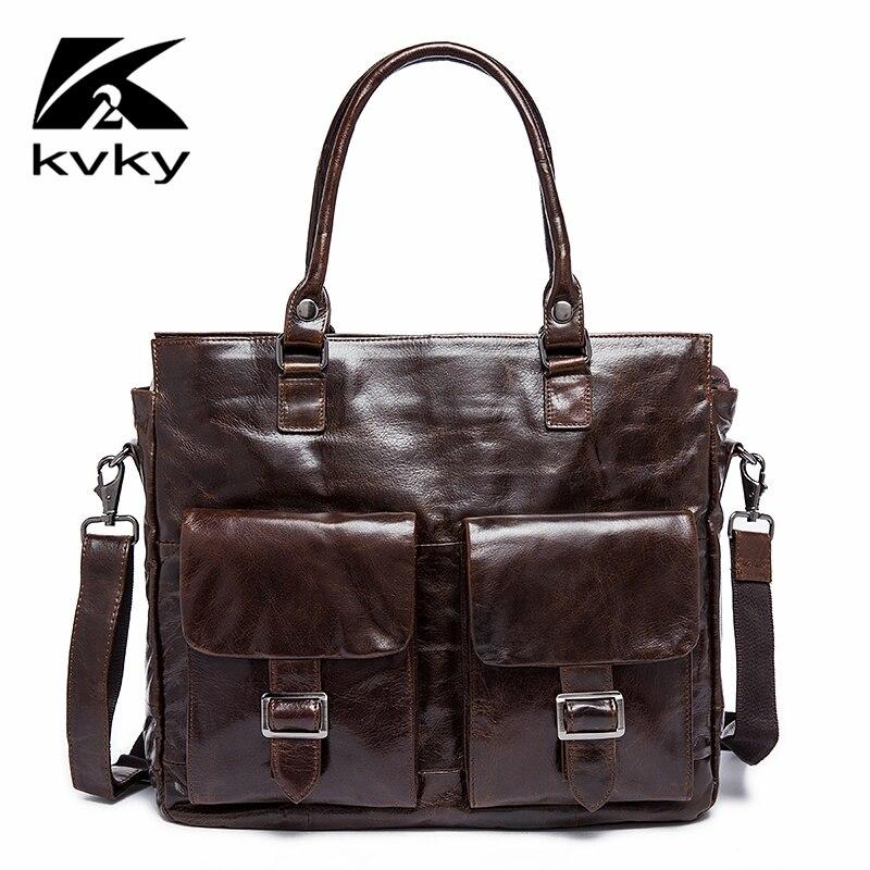 KVKY Big Men Briefcase Genuine Leather Men Bag Fashion Business Luxury Laptop Hand Bag Famous Brand High Quality Crossbody Bag