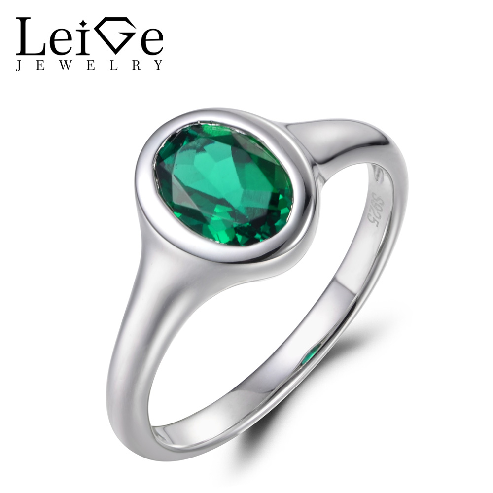 Leige Jewelry Oval Cut Emerald Anniversary Ring  Green Stone Ring May Birthstone 925 Sterling Silver Wedding Gift  Ring for LadyLeige Jewelry Oval Cut Emerald Anniversary Ring  Green Stone Ring May Birthstone 925 Sterling Silver Wedding Gift  Ring for Lady