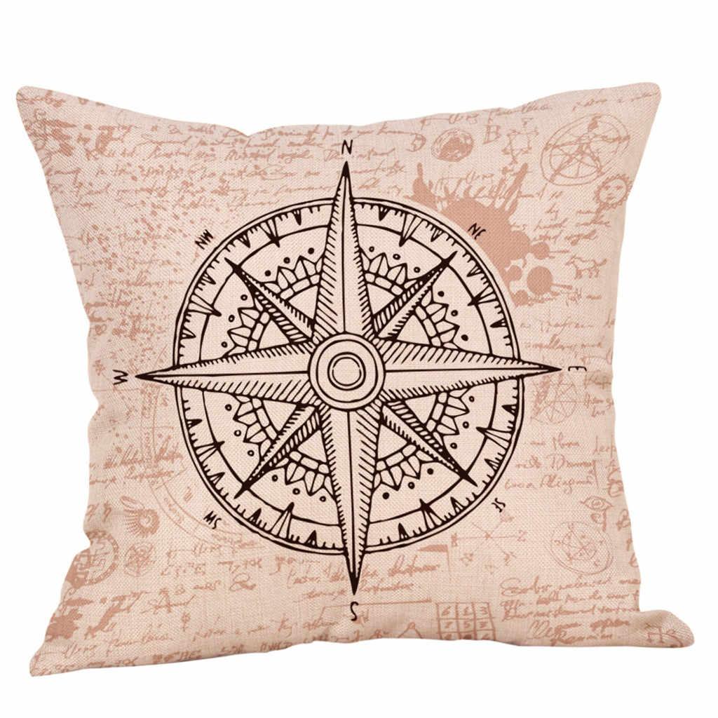 45*45 Cm Tempat Kompas Sederhana Pola Sarung Bantal Linen Peta Laut Tidur Sarung Bantal Anak Kamar Tidur Tempat Sarung Bantal