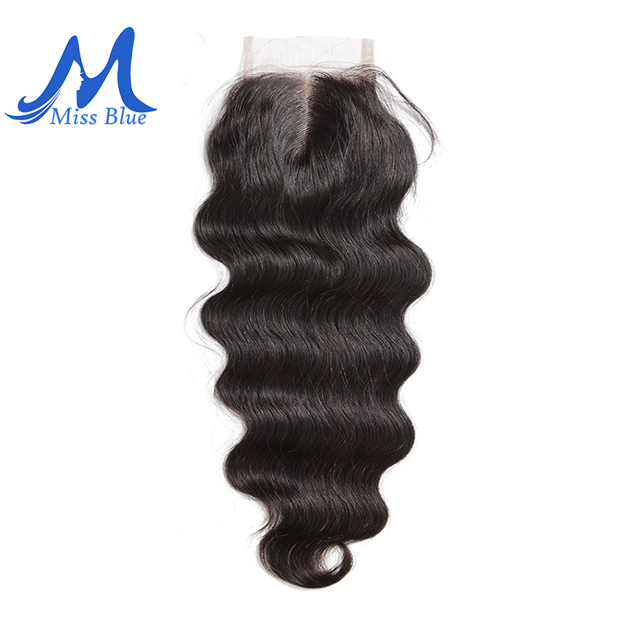 Missblue Peruvian Hair Body Wave 4x4 Lace Closure 100 Human Hair Natural Color Remy Hair Free