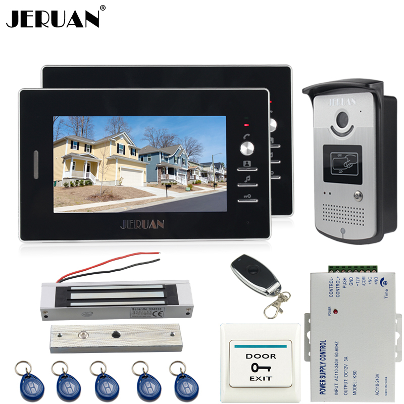 JERUAN 7`` TFT video door phone Entry intercom system kit 700TVL RFID IR Night Vision  Camera 2 monitor doorbell speakerphone