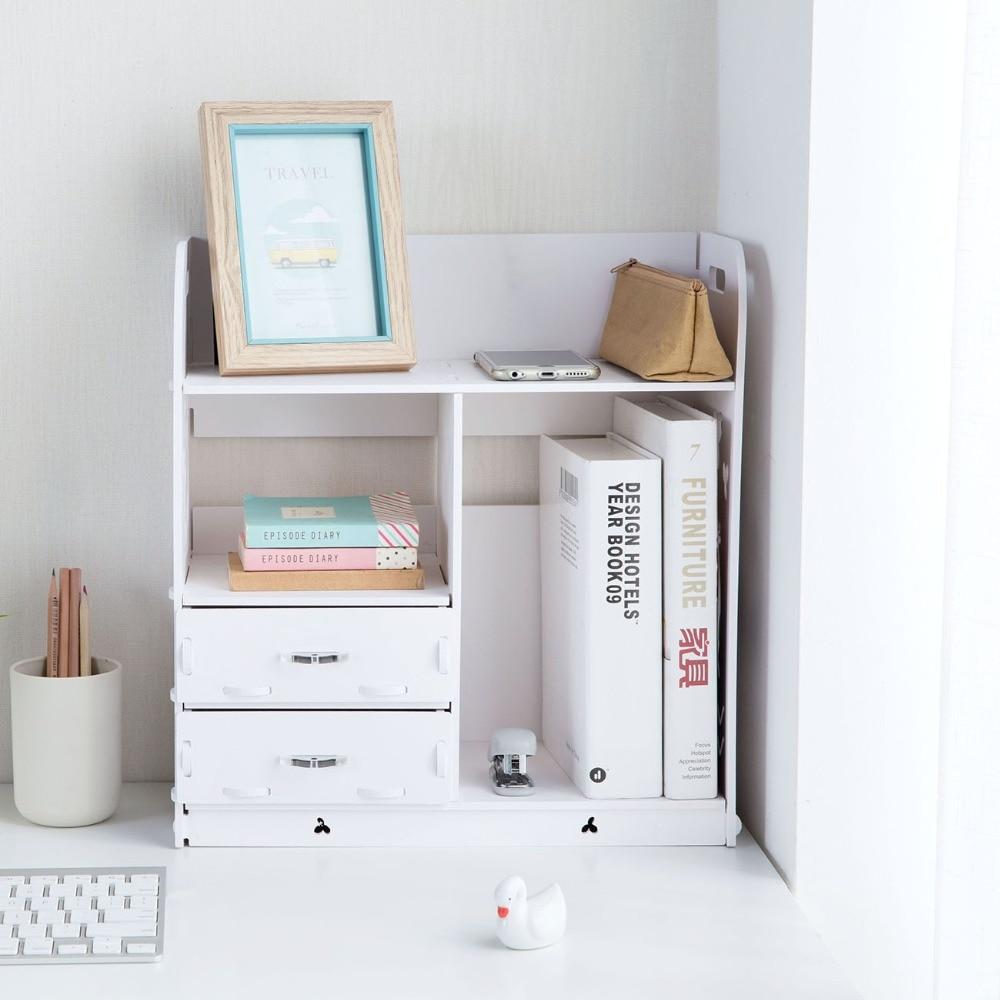 White Color 2 Drawers Bookcase Makeup Cosmetic Storage Box Rack Shelf Table Desktop Corner Organizer Home Decor