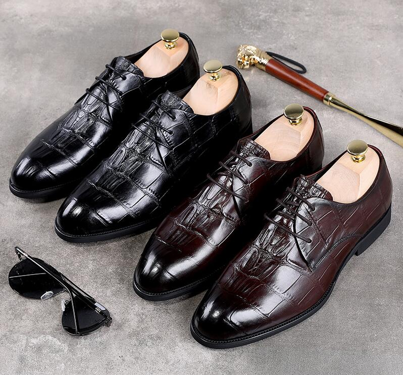 Dress shoes men Alligator Pattern plaid genuine leather smart casual formal business oxfords pleated pointed toes derby shoes plaid pleated cami dress