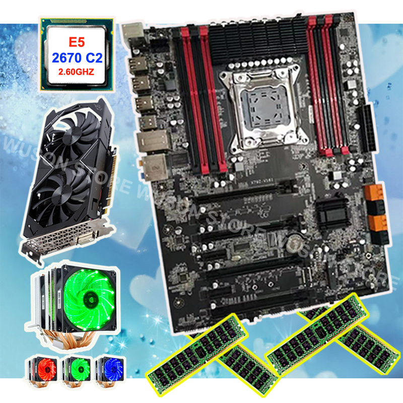 Building Gaming Computer Runing X79 Motherboard Video Card GTX1050TI 4G CPU Xeon 2670 C2 2.6GHz With Cooler RAM 4*8G 1600 RECC