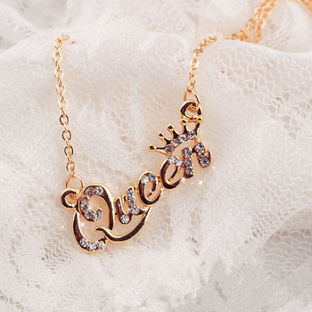 Elleperi.com: Rose gold Silver White Crown Queen Pendant Queen Word Necklace Charm for Girlfriend Gifts Korean Golden Adjustable Girls Queen necklace