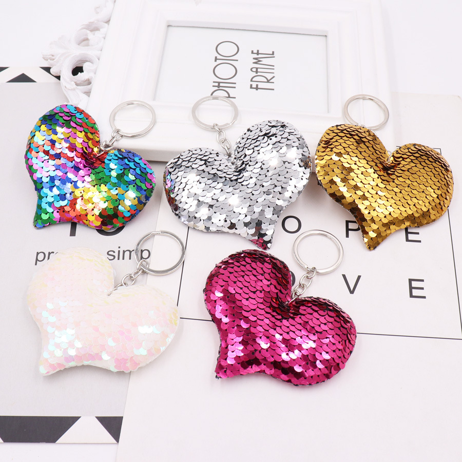 1PCS Cute Heart Keychain Glitter Pompom Sequins Key Ring Gifts For Women Llavero Chaveros Charms Car Bag Accessories Key Chain
