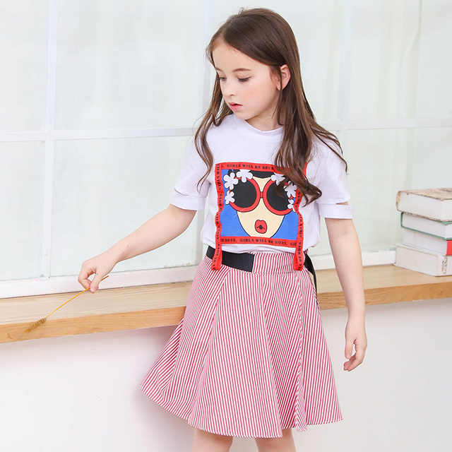 2298b5d4982 Louisdog 2018 Girl Skirts Set Summer Children s Suit T Shirt+Striped Skirt  Two Pieces Teen Girls Clothing Sets for 6-15Yrs Child