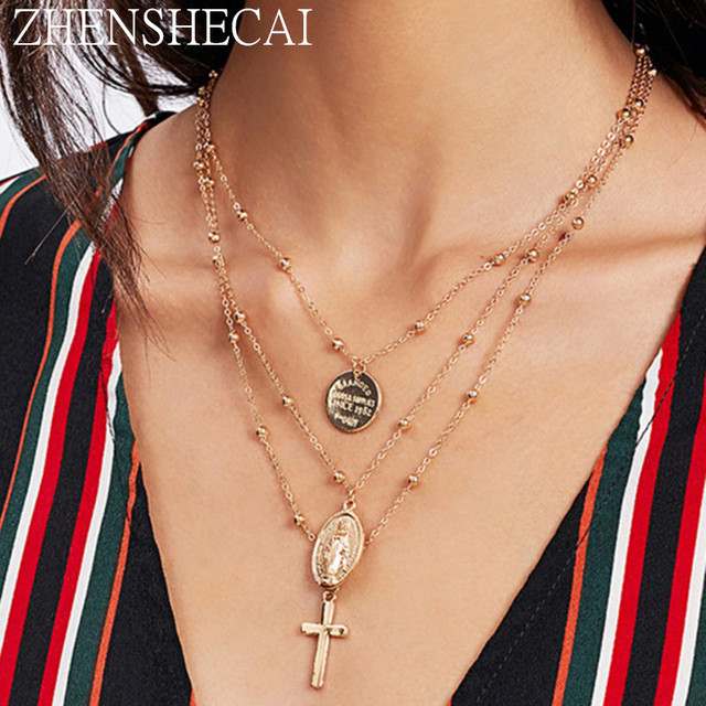 Europe and America style fashion chain necklace cross pendant round piece 3 laye