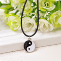 Vintage Stainless Steel Yin Ying Yang Pendant Necklace Black White Necklace Men PU Leather Necklaces Jewelry YK5105
