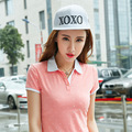Causal Patchwork Women Polo Cotton Short Sleeve Slim Women's Polo Shirts White Red Design New Polos Shirt Tops For Women B012