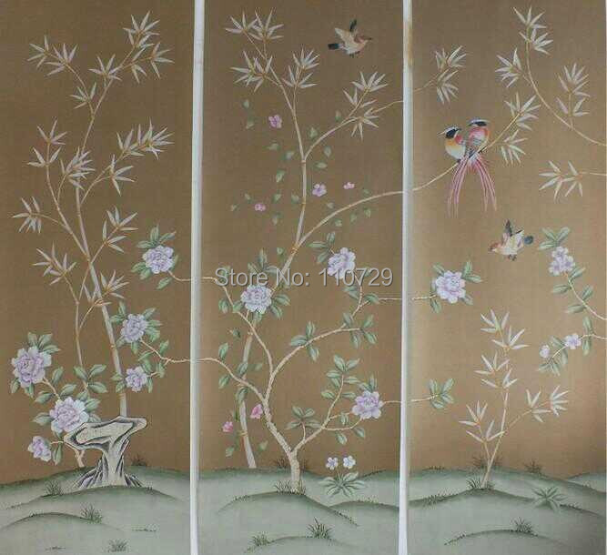 Hand painted silk wallpaper painting flowers with birds silk wallcover sticker