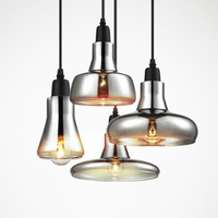 Vintage Glass Pendant Light Grey Color Clear Color Amber Color Pendant Lamps With LED Bulbs 110V