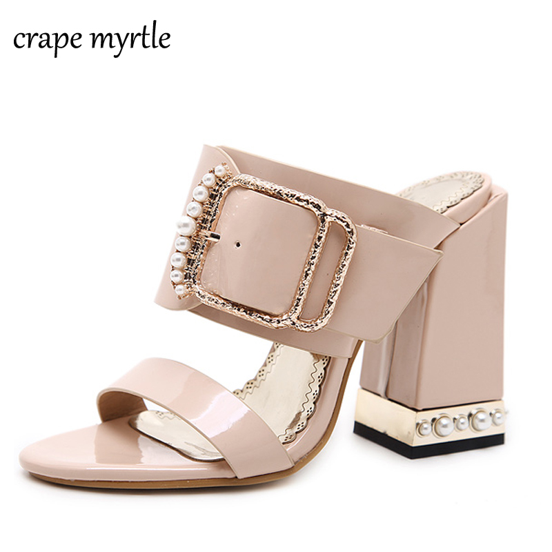 platform flip flops open toe sandals beige Summer Shoes chunky heels platform sandals women slippers summer pearl shoes YMA201