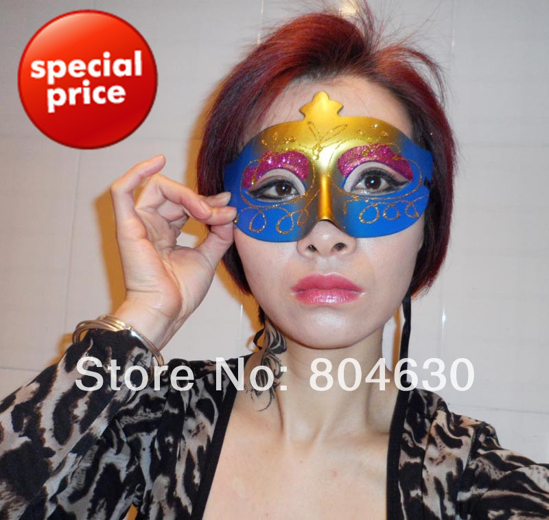 Party Masks Half Face Hand Drawing Woman mask venetian masquerade halloween costume 10 mix color EMS - Caly Tao's store