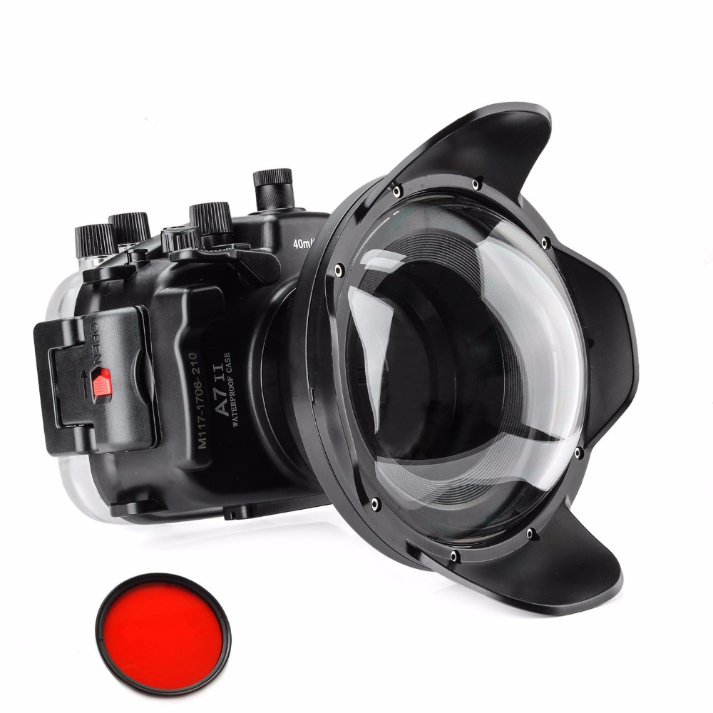 Meikon Underwater Waterproof Housing Case 40M 130ft For Sony A7 II A7R II 28-70mm Camera+ SeaFrogs WA-5 Wire Angle Dome Port meikon 40m wp dc44 waterproof underwater housing case 40m 130ft for canon g1x camera 18 as wp dc44