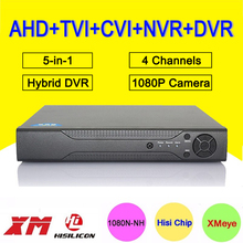 Hisiclion Chip Metal Case DVR 4 Channel 1080P/1080N/960P/720P/960H 25fps 5 in 1 Hybrid Coxail NVR TVI CVI AHD DVR Free Shipping
