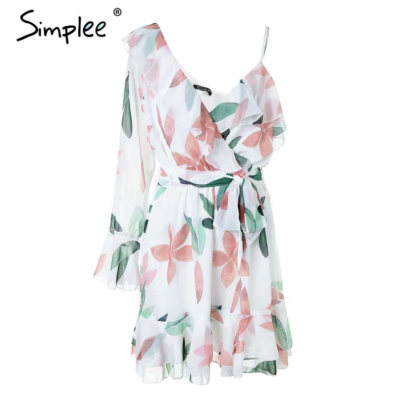Simplee V neck print bohemian beach dress Irregular ruffles summer dress women 2018 Bandage elegant short dress vestidos