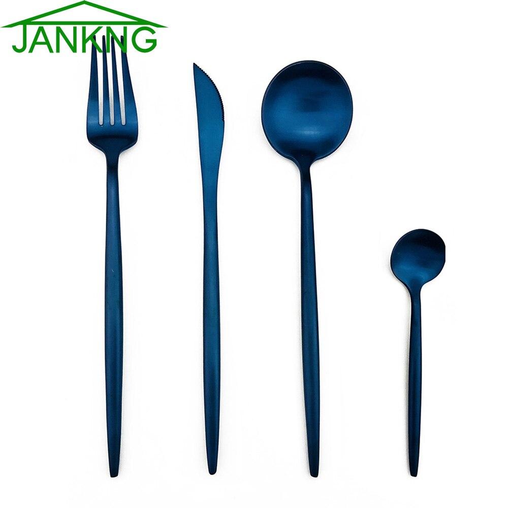 Ev ve Bahçe'ten Yemek setleri'de 24 adet Gökkuşağı Gül Altın Mavi 304 Paslanmaz Çelik Mat Kaplama çatal bıçak kaşık seti Siyah Yemek Takımı Çatal Bıçaklar Gümüş Yemek Seti'da  Grup 1