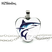 New Circling Sharks Heart Necklace Blue and White Whale Pendant Shark Heart Jewelry Silver Heart Necklace Glass Dome Pendant HZ3