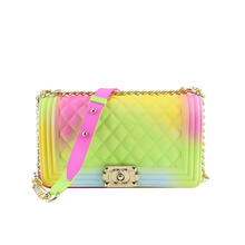 Woman Flap Rainbow handbag colorful jelly shoulder bag women beach message purse pvc candy crossbody bag Top quality