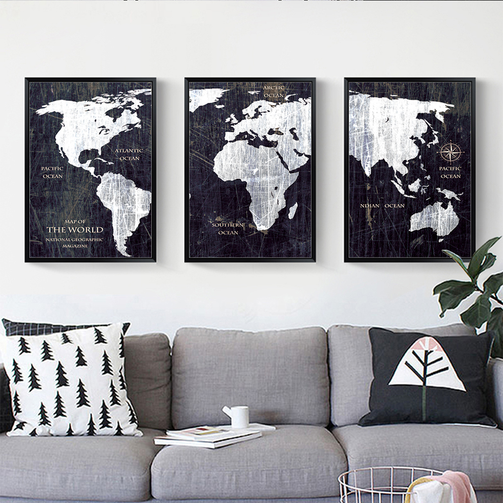 3 panels world map wall art vintage canvas painting black and white 3 panels world map wall art vintage canvas painting black and white print poster decorative pictures for living room study room in painting calligraphy gumiabroncs Image collections