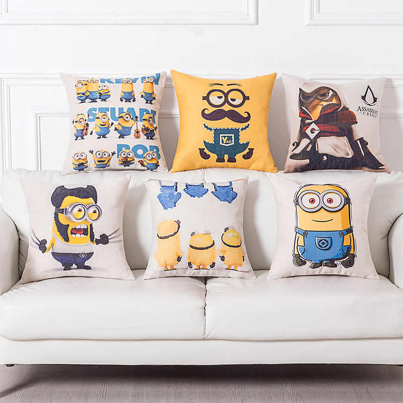Square 45*45cm Decorative Cartoon Minions Pillow Case Cover Pillowcase For House Decorative Cushion Cover New