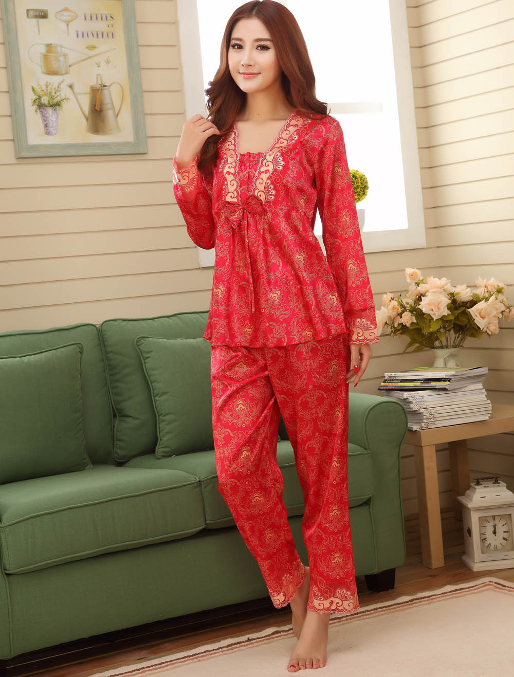 dd890f1cd5055f Faux seda Conjuntos de Pijama Casal para homens mulheres feminino casamento  casamento nightgowns pijamas homewear salão masculino pijama nightwears -  ...