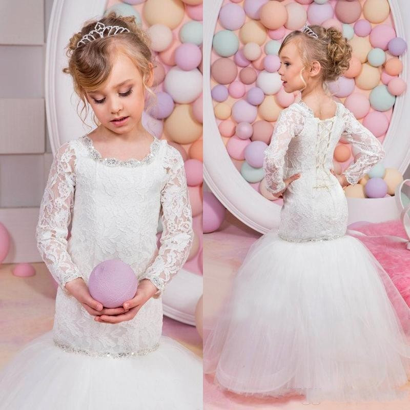 long sleeve communion   dresses   2019 Mermaid Lace White   Flower     Girl     Dresses   Tulle Beading Sequined Lace Up Back Party Gowns